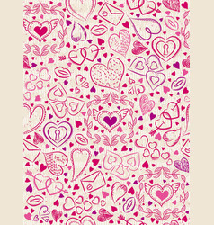 color patterned background with red valentine vector image