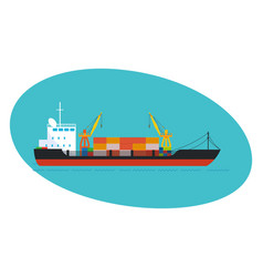 commercial and passenger cargo ship with cargo vector image