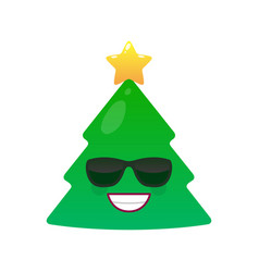 Confident christmas tree isolated emoticon vector