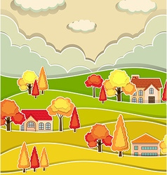 Countryside scene with houses and tree in autumn vector