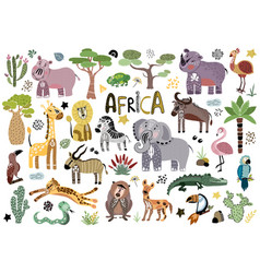 cute african animals vector image