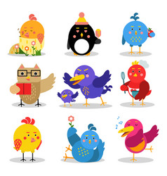 Cute cartoon birds in different situations vector