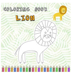Cute cartoon lion silhouette for coloring book vector
