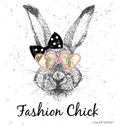 Cute rabbit print vector