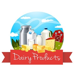 Dairy products with text vector image