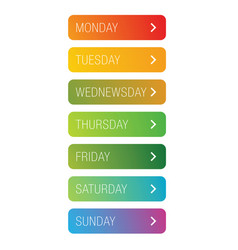 days of the week button vector image