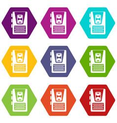 dictaphone icon set color hexahedron vector image
