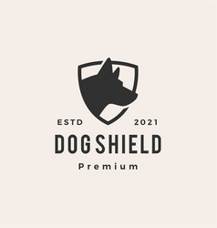 dog shield hipster vintage logo icon vector image