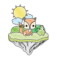 doodle nice fox animal in the float island vector image