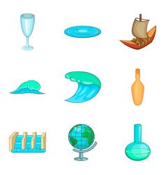 Drain icons set cartoon style vector