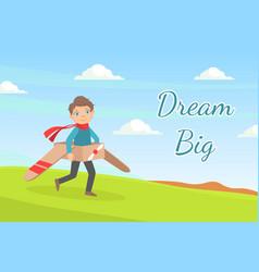 dream big banner cute boy dreamer playing vector image