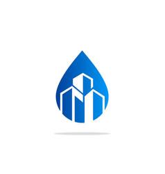 Droplet building construction logo vector