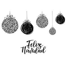 feliz navidad spanish typography lettering vector image