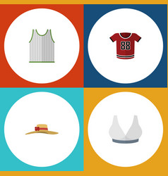Flat icon dress set of elegant headgear singlet vector