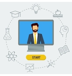 Flat of lecturer on the monitor vector image