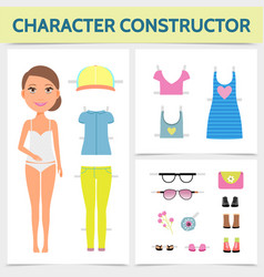 Flat woman character constructor concept vector