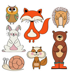 forest animals collection isolated on white vector image