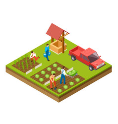 Gardening and harvesting 3d isometric vector