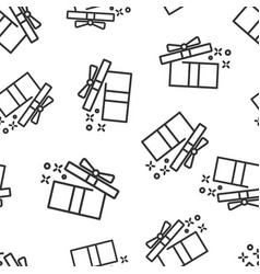 gift box icon seamless pattern background magic vector image