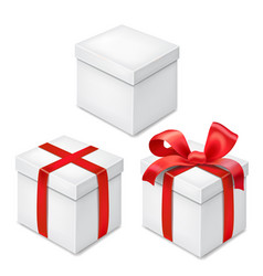 gift boxes with red ribbon and bow realistic set vector image