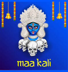 Goddess kali maa on diwali kali pooja background vector