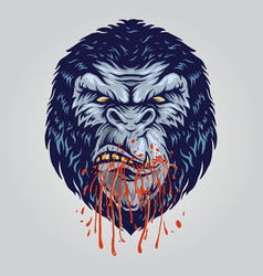 gorilla angry with blood in mouth vector image