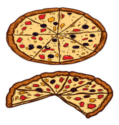 hand drawn cut pizza isolated on white vector image