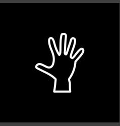 hand line icon on black background black flat vector image