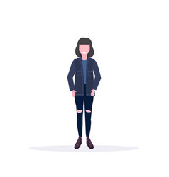 happy casual woman standing pose smiling brunette vector image