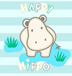 Happy hippo standing in water with stripes vector