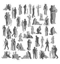 Highly detailed happy family silhouettes vector