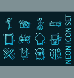 hobby set icons blue glowing neon style vector image