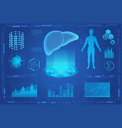 Human liver futuristic medical hologram vector