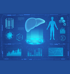 human liver futuristic medical hologram vector image