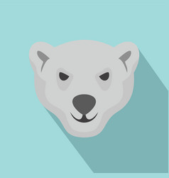 Hungry head of polar bear icon flat style vector