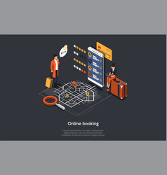 Isometric online booking hotel process couple of vector