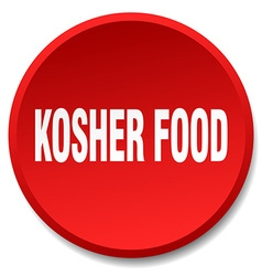 Kosher food red round flat isolated push button vector