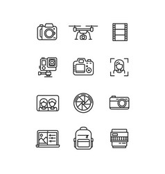 Line video and photo production camera icon vector