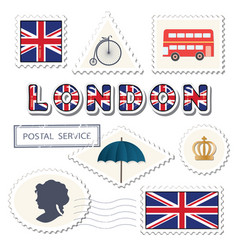 london postage set decorative british stamps vector image
