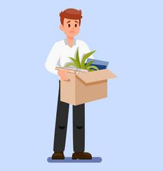 Man with box belongings vector
