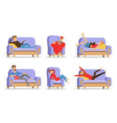 men and women are resting on blue sofas vector image