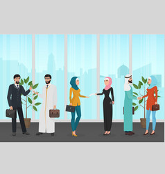 men and women in traditional muslim clothes vector image