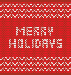 merry christmas red knitting card vector image
