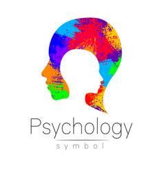 modern head logo of psychology profile human vector image