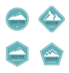 Mountain white logo on blue background vector
