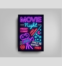 Movie night poster design template in neon style vector