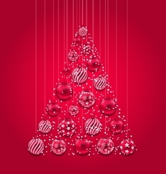 New Year Abstract Tree Made in Pink Hanging Balls vector image