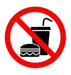 No food stop eat or drink prohibition sign vector