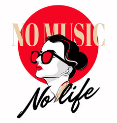No music no life hand drawn of vector