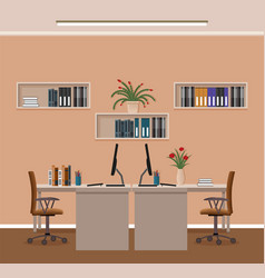 office room interior with two workspaces and vector image